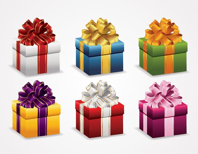 Present Gift Box With Ribbon