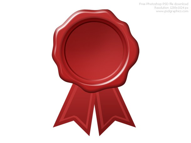 Psd Red Wax Seal With Ribbon Vector File 365psd Com