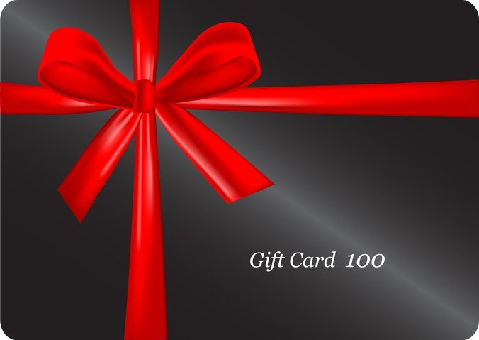 Red Ribbon Wrapped Around A Black Gift Card