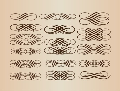 Calligraphic Elements Vector Set
