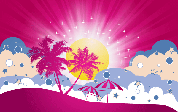 Free Vector Tropical Beach Poster Template