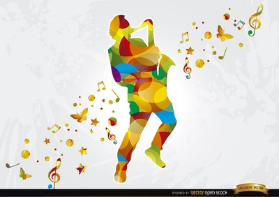 Colorful saxophonist musical background