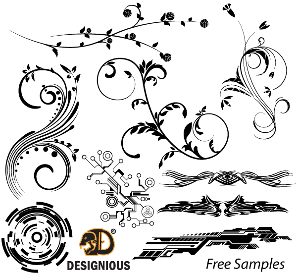 free free vector samples floral tech shapes and tribal designs psd