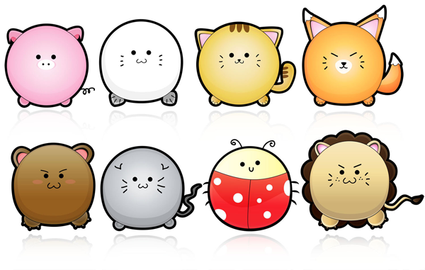 Cute puffy animals vector 365psd voltagebd Gallery