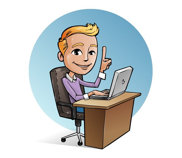 Vector Character with Laptop