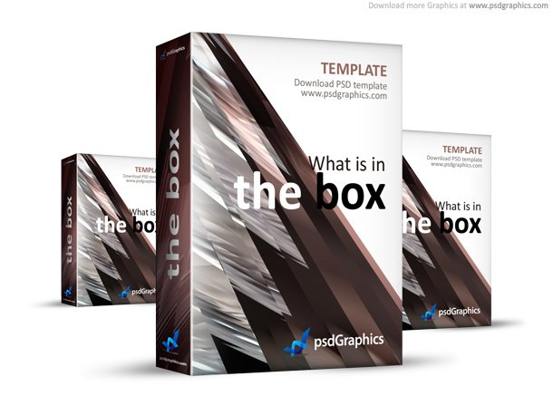 Free Abstract Brown 3D Box Template PSD Files Vectors