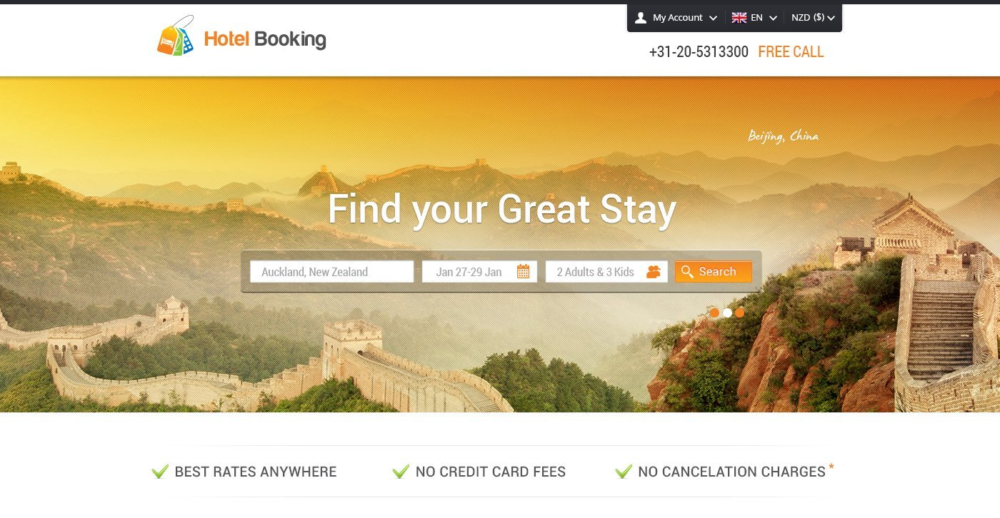 Hotel Booking Web Layout Free Psd Template Psd File For Free