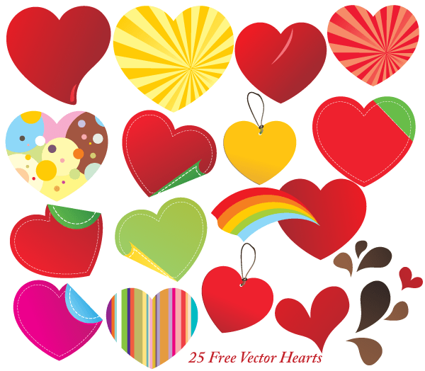25 Free Vector Hearts Illustrator Vector Graphics