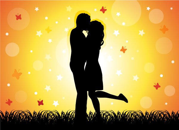 Couple Kissing Free Vector Art