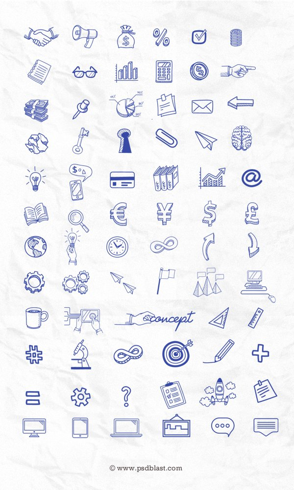 70+ Hand Drawn Icon Set (PSD)
