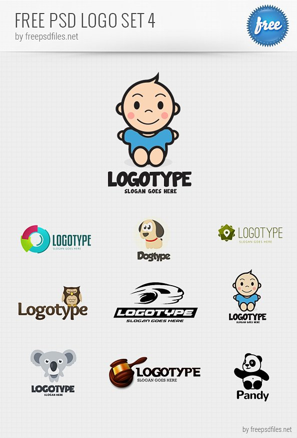 Psd Vector Eps Jpg Download: Free PSD Logo Design Templates Pack 4 PSD Files, Vectors