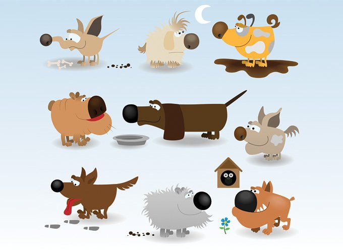 Funny Dog Cartoon Vector Illustrations (Free)