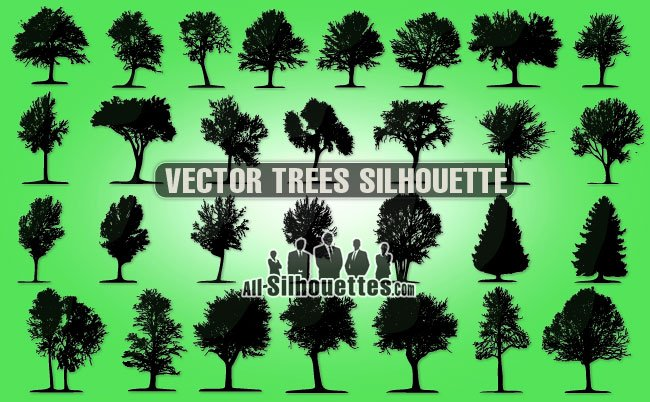 29 Vector trees silhouette