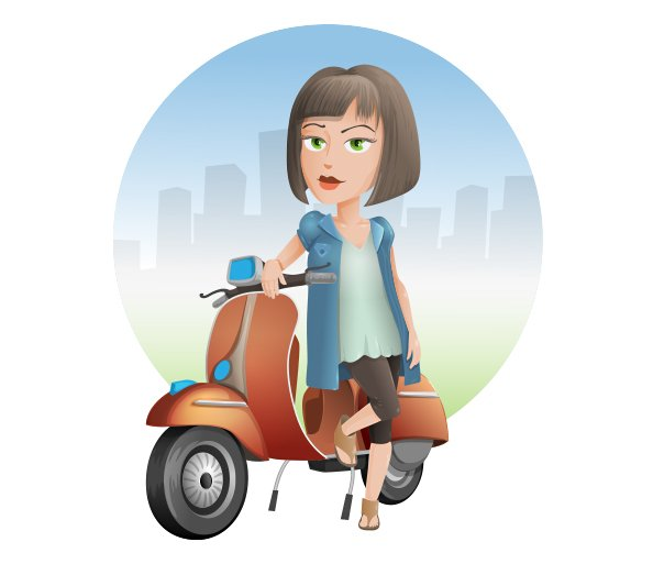 Vector Chick on a Scooter
