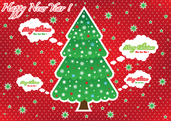 Free greeting card with christmas tree on red background psd files 1 m4hsunfo