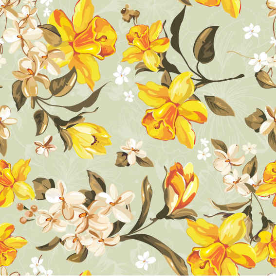 yellow floral pattern - photo #3