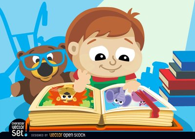 Little boy with illustrated book