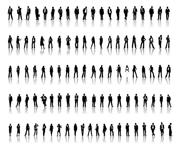 Professional men and women silhouette