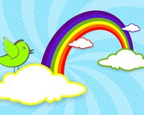 Rainbow with Clouds and Bird