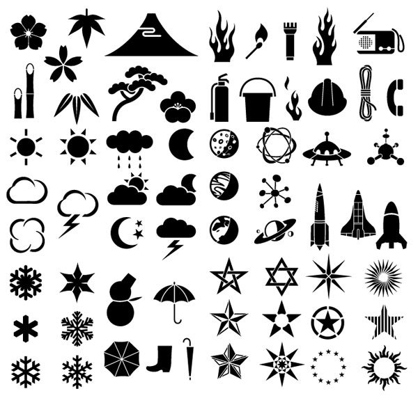 Elements of a variety of silhouettes vector material - weath