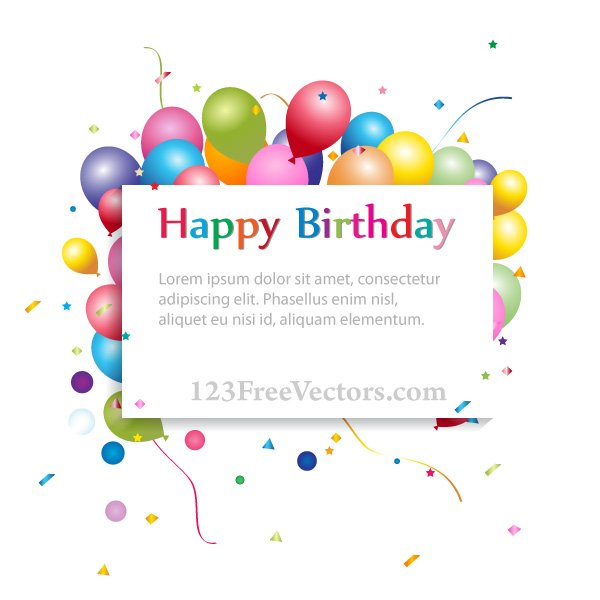 Free Happy Birthday Background With Banner And Colorful