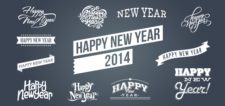 Happy New Year 2014 Vectors