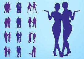 People In Couples Silhouettes