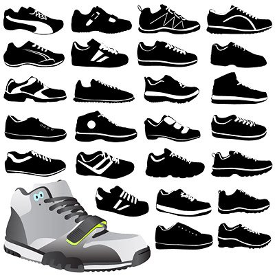 Variety of sports shoes