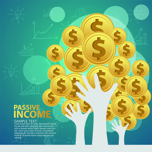 Creative passive income money background vector 01
