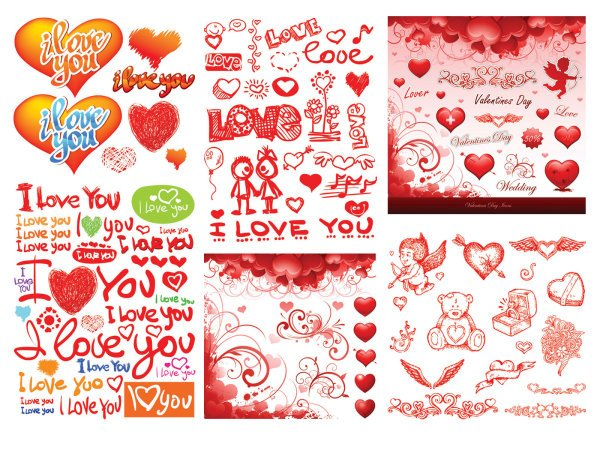 Practical Valentine Element Vector Material -3 Hand-painted Graffiti Heart
