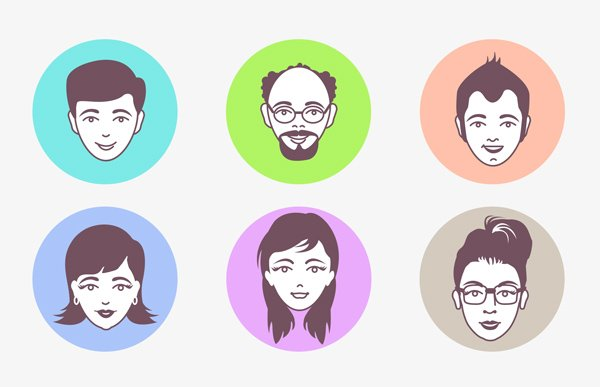 Male and Female Avatar Vector Faces (PSD)