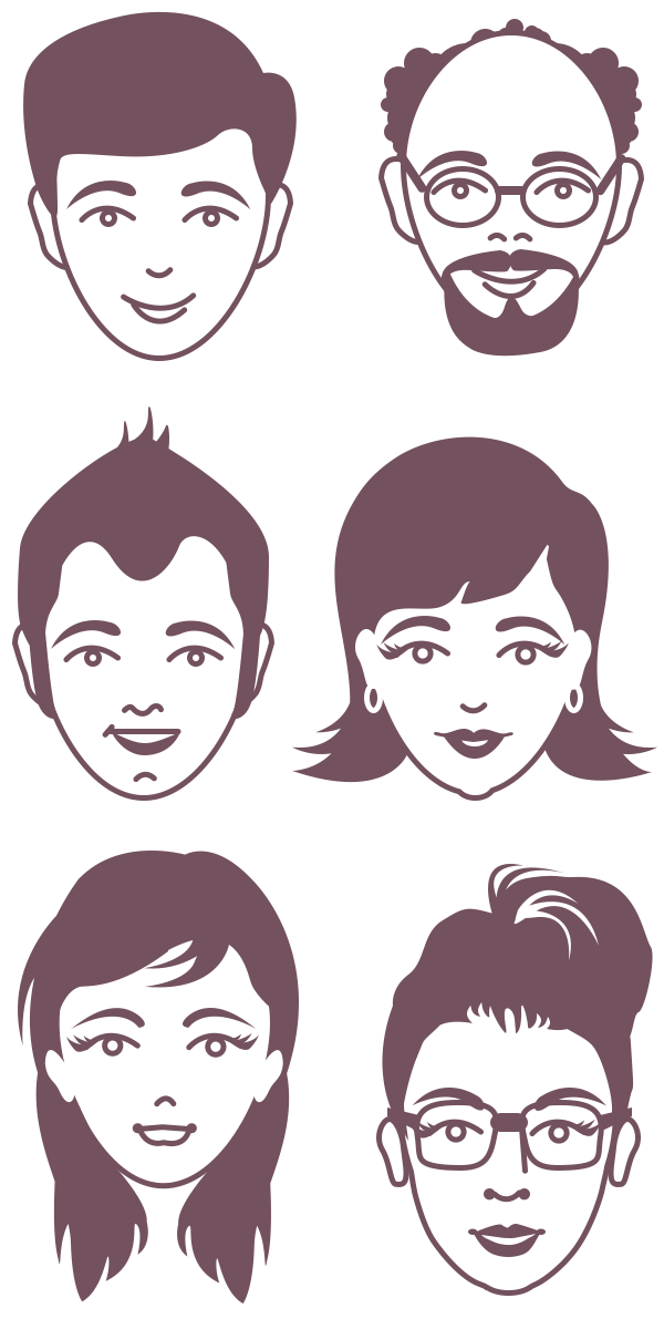 Free Male and Female Avatar Vector Faces (PSD) PSD files, vectors