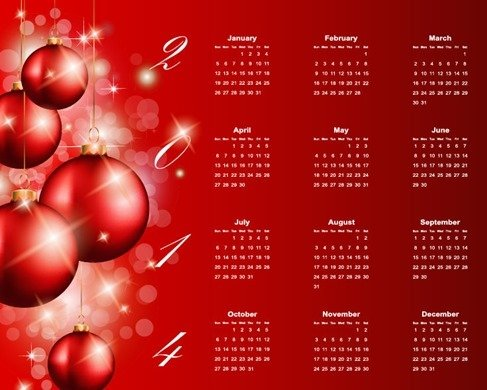 2014 Calendar with Ball Ornament Red Background