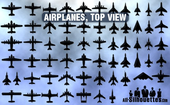 61 Airplanes top view
