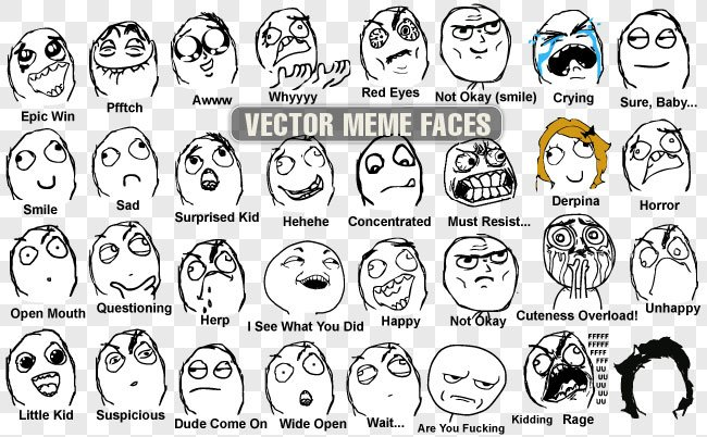 Funny Meme Faces Human : Vector meme faces images psd