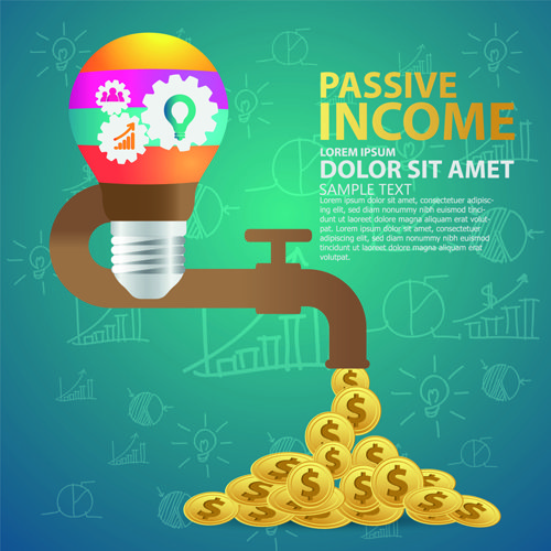 Creative passive income money background vector 04