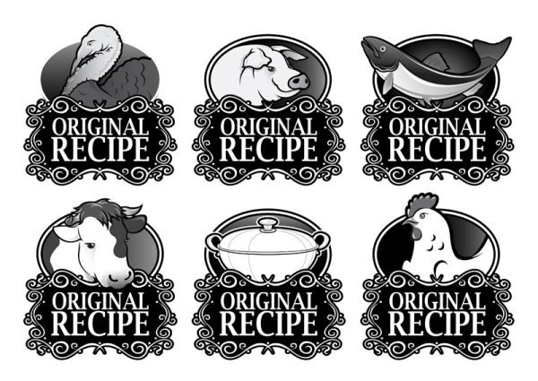Black and white royal style ingredients label 01 - vector ma