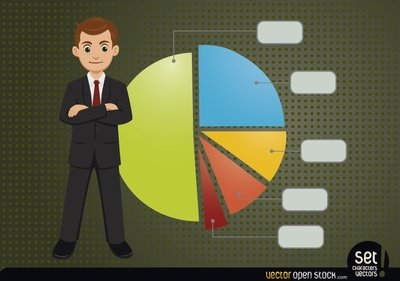 Young Businessman with Infographic Pie Chart