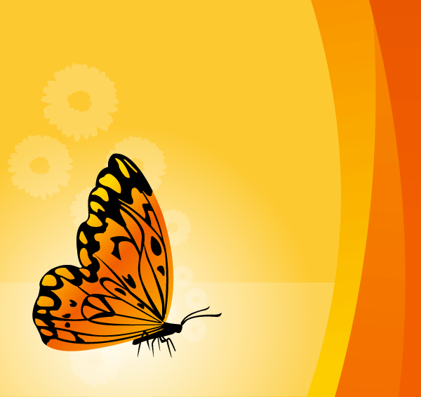 Free Floral Vector Background with Butterfly