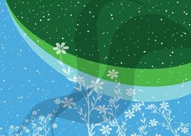 Blue Green Flowers Background