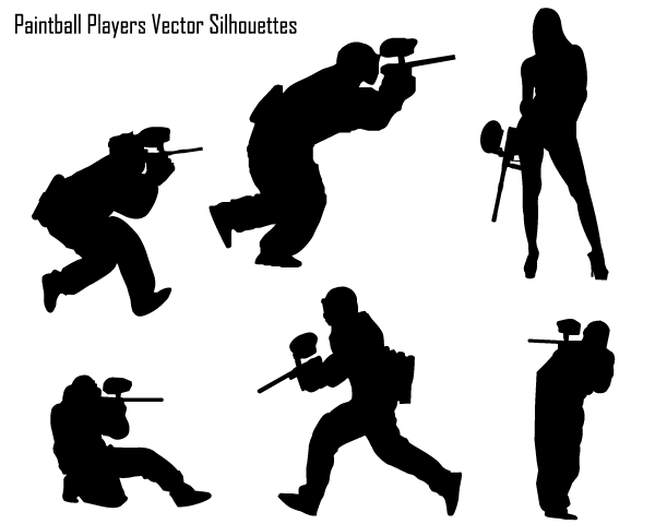 Paintball Players Vector Silhouette Free