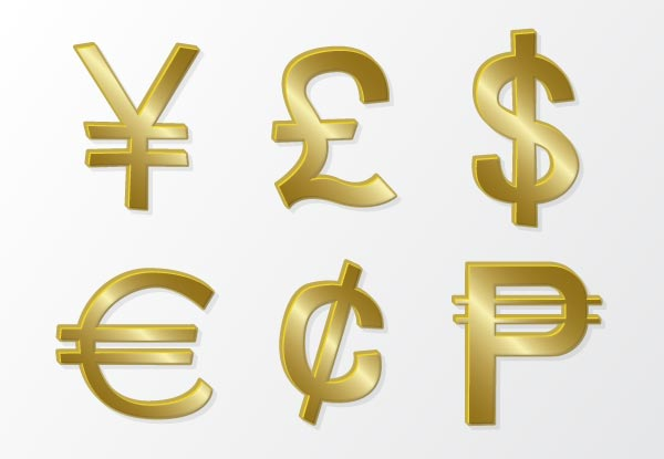 Free Vector Golden Currency Symbols