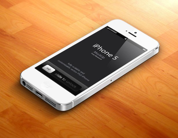 3D iPhone 5 Psd Vector Mockup v2