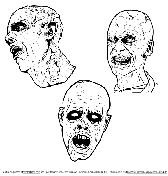3 Free Illustrated Scary Zombie