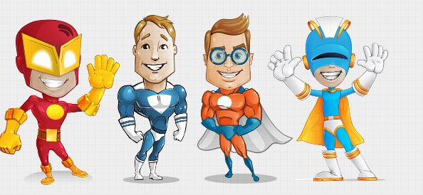 Superhero Vector Character Set 1