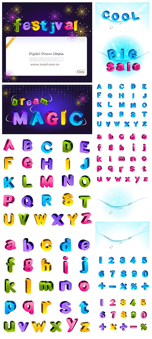 Lovely color three-dimensional letters and numbers vector ma