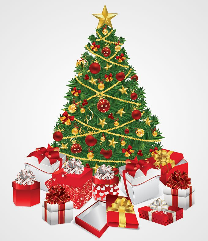 Free Christmas Tree with Gifts Vector Illustration (Free) PSD files, vectors & graphics - 365PSD.com