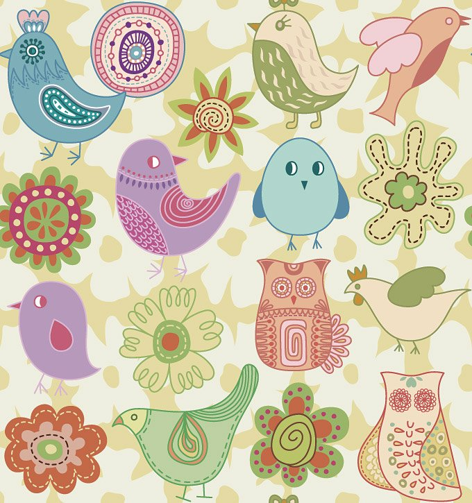 Hand Drawn Birds & Flowers Vector Doodles (Free)