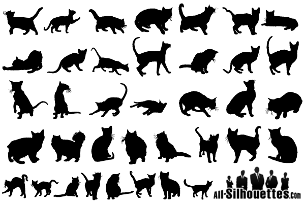 free vector cats silhouettes  vector image 365psd com cat dog silhouette vector cat silhouette vector file