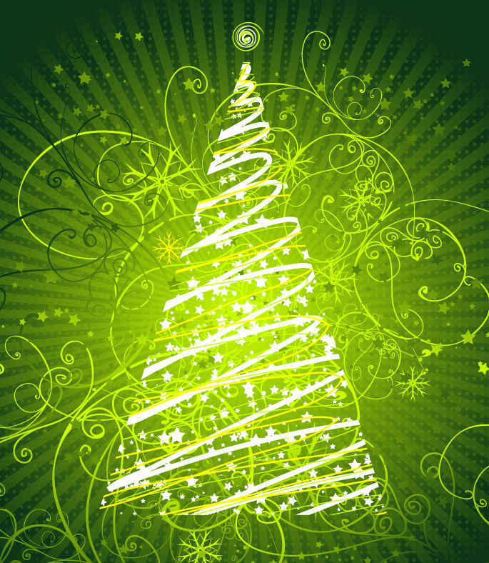 Floral Christmas Tree Green Background